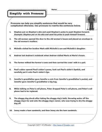Editing Worksheet 3rd Grade Simplify with Pronouns
