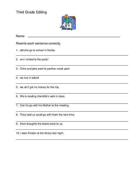 Editing Worksheet 3rd Grade Third Grade Editing Worksheet for 3rd 4th Grade