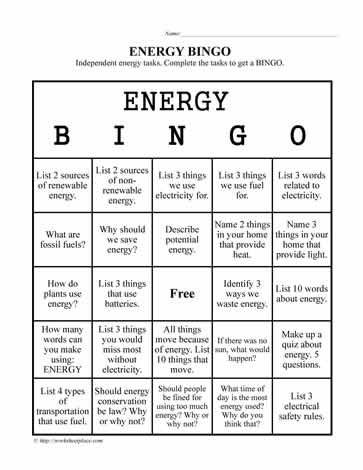 Energy Worksheets for 3rd Grade Energy Bingo Worksheets
