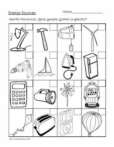 Energy Worksheets for 3rd Grade Energy sources