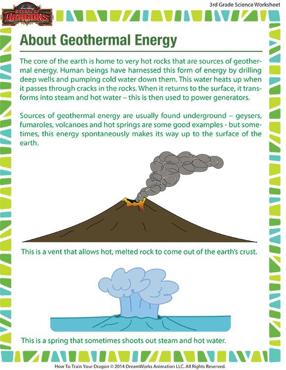 Energy Worksheets for 3rd Grade Geothermal Energy Worksheet – 3rd Grade Printable Kid – sod