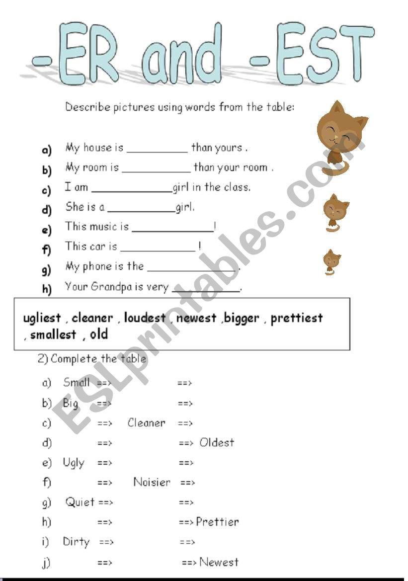 Er Est Worksheets 2nd Grade Er and Est Adjectives Esl Worksheet by Lilli97