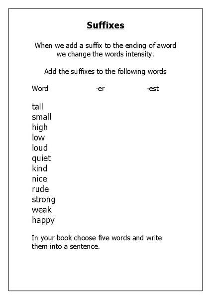Er Est Worksheets 2nd Grade Suffixes Er and Est Worksheet for 2nd 3rd Grade