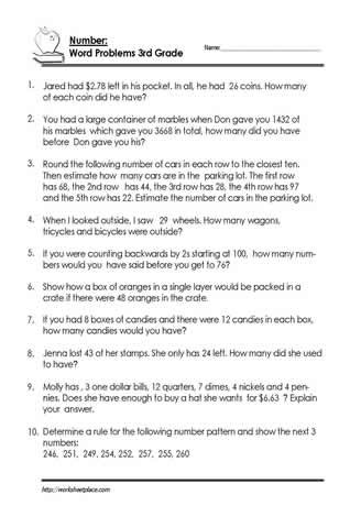 Estimating Word Problems 3rd Grade 3rd Grade Number Problem Worksheets
