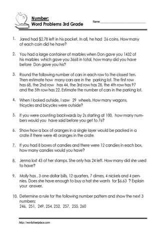 Estimating Word Problems 3rd Grade 3rd Grade Number Problem Worksheets