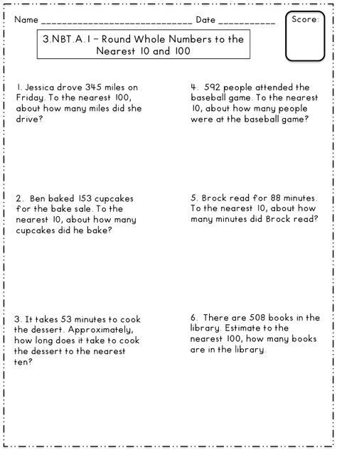 Estimating Word Problems 3rd Grade Free Rounding to the Nearest 10 and 100