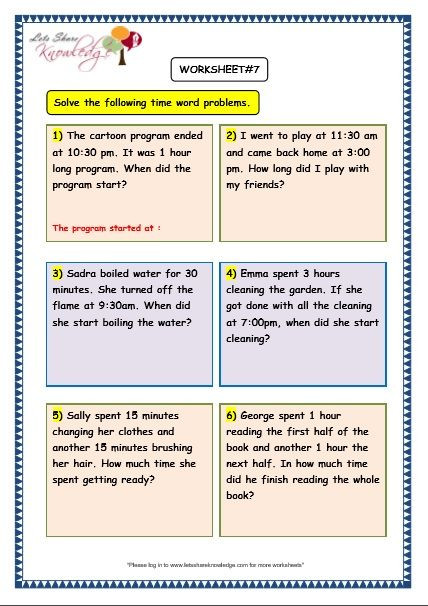 Estimating Word Problems 3rd Grade Grade 3 Maths Worksheets 8 5 Time Problems