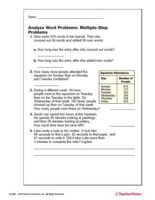 Estimating Word Problems 3rd Grade Multiple Step Word Problems Addition Subtraction Printable