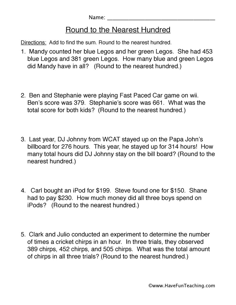 Estimating Word Problems 3rd Grade Round to the Nearest Hundred Word Problems Worksheet