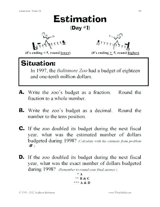 Estimating Word Problems 3rd Grade Rounding Word Problems 3rd Grade Third Grade Fractions
