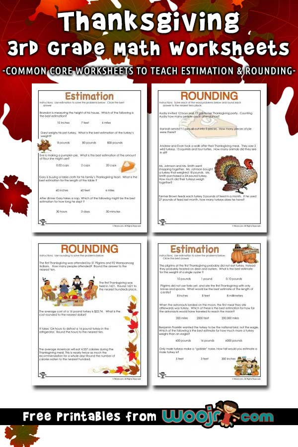 Estimating Word Problems 3rd Grade Thanksgiving Math Word Problems Estimating and Rounding