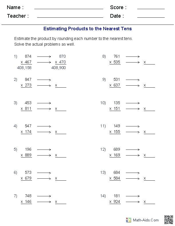 Estimation Worksheets 3rd Grade Estimating Products Worksheets Worksheet Maths Estimation