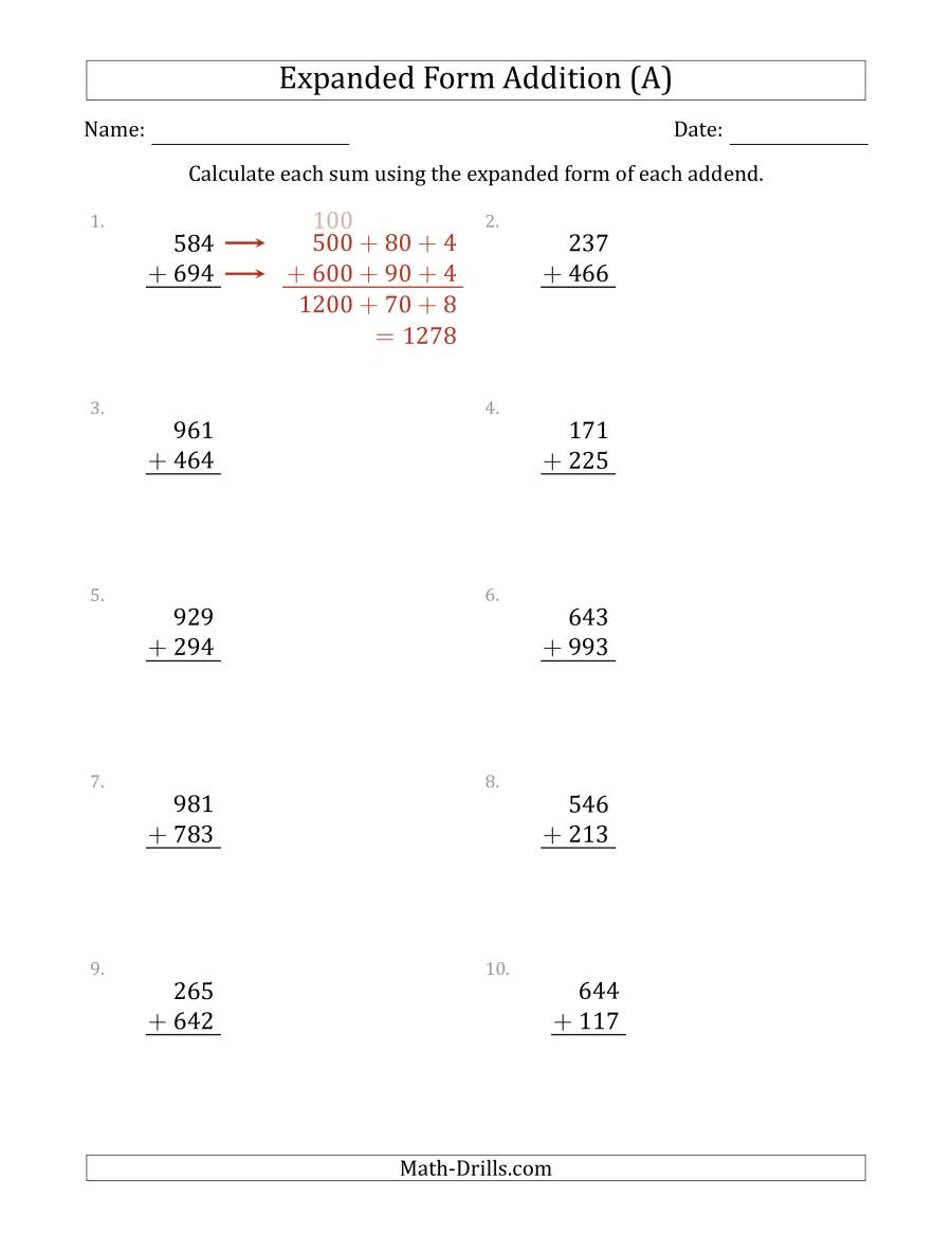 Expanded form Worksheets 1st Grade 3 Digit Expanded form Addition A