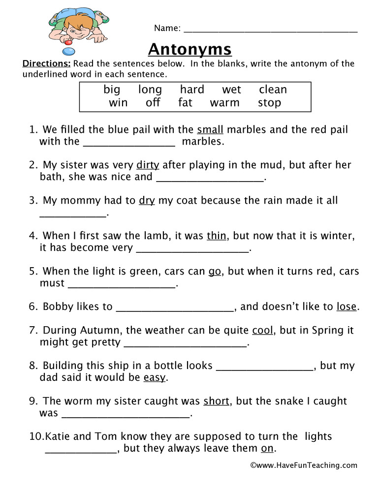 First Grade Antonyms Worksheet Antonym Worksheet