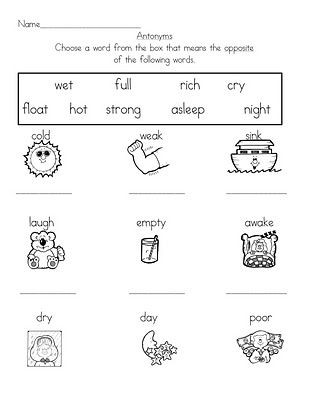 First Grade Antonyms Worksheet Antonyms Worksheet & Activity