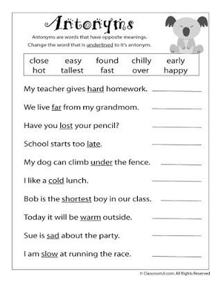 First Grade Antonyms Worksheet Free Antonym Worksheets for Middle School