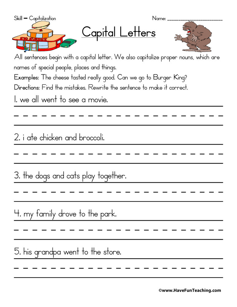 First Grade Capitalization Worksheets Captain Capitalization Worksheet
