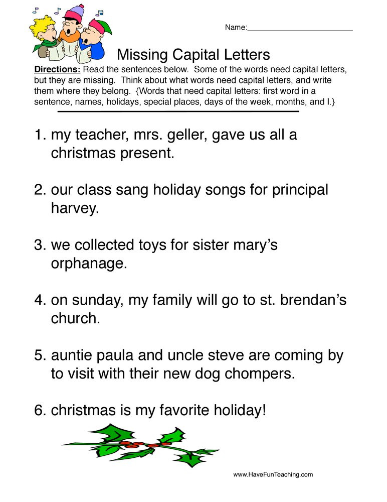 First Grade Capitalization Worksheets Christmas Capitalization Worksheet