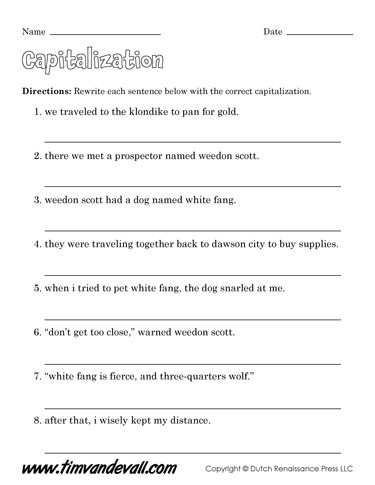 First Grade Capitalization Worksheets Free Capitalization Worksheets for Kids