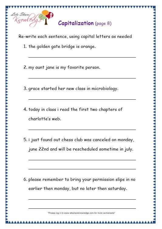 First Grade Capitalization Worksheets Grade 3 Grammar topic 29 Capitalization Worksheets