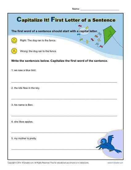 First Grade Capitalization Worksheets Kindergarten Capitalization Worksheet First Letter Of A