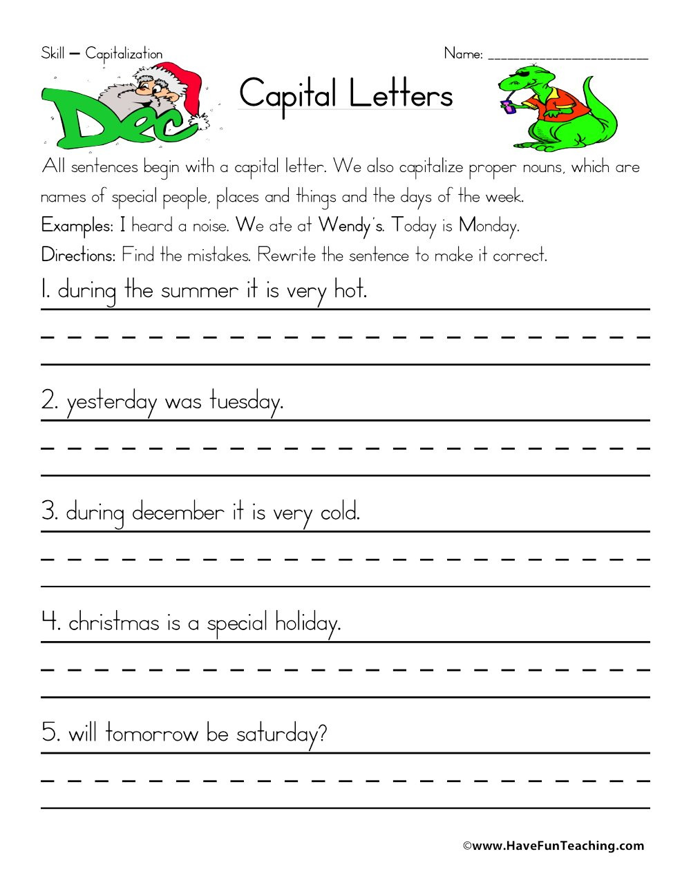 First Grade Capitalization Worksheets Rewriting Capitalization Worksheet