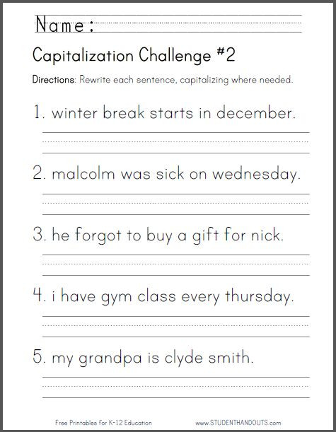 First Grade Capitalization Worksheets Studenthandouts 01 Web Pages 2014 04 Capitalization