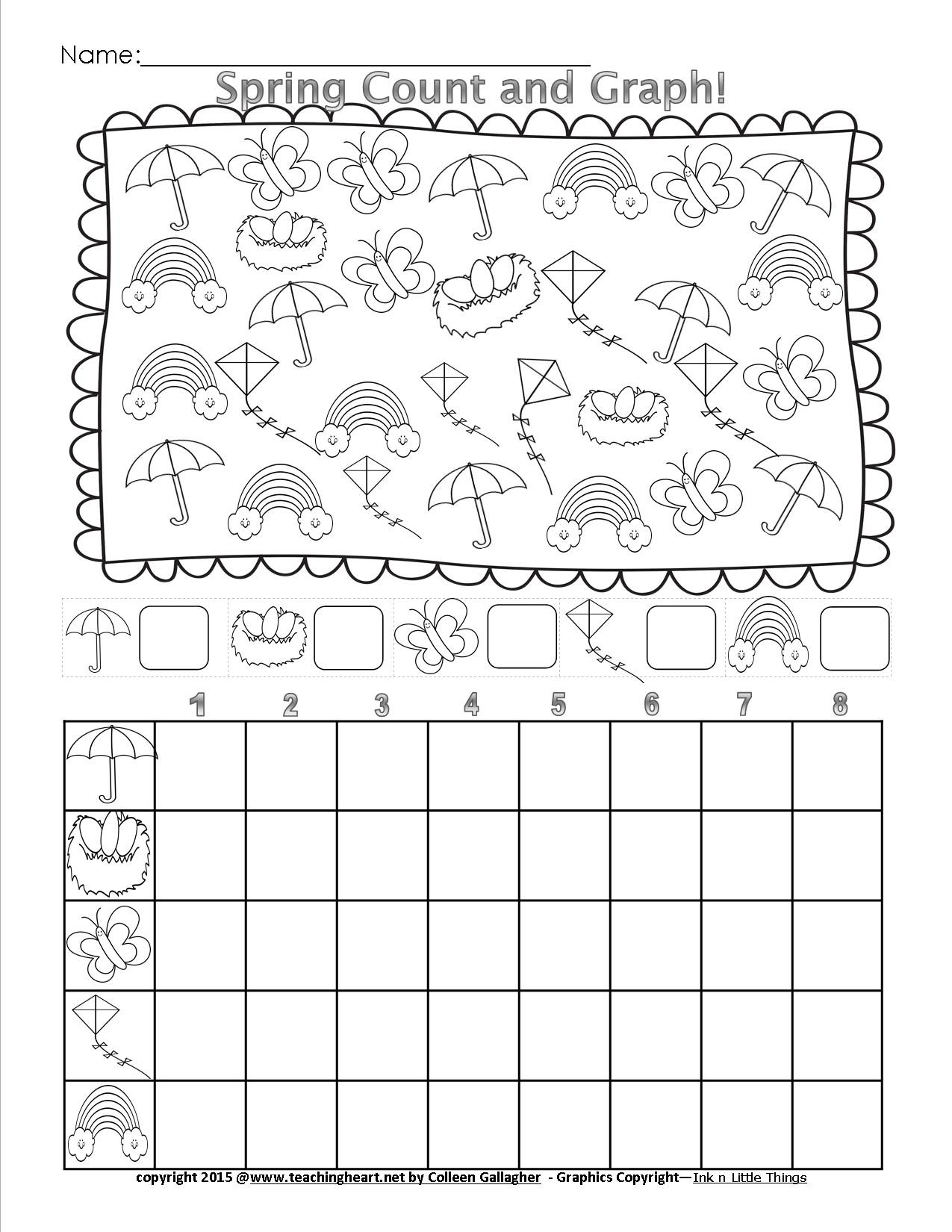 First Grade Graphing Worksheets Spring Count and Graph – Free – Teaching Heart Blog