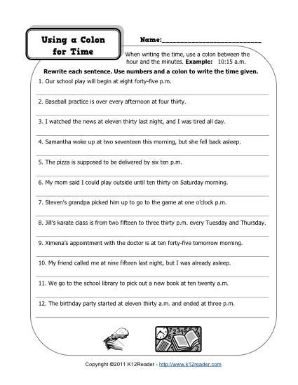 First Grade Punctuation Worksheets Colons and Time