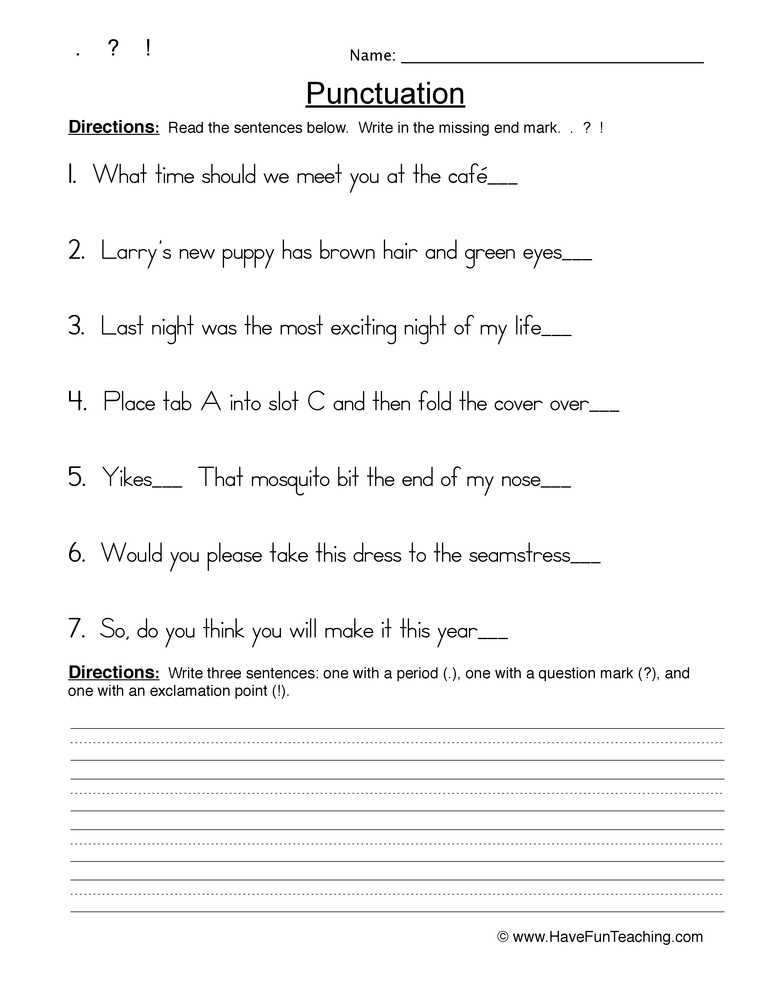 First Grade Punctuation Worksheets Mas Punctuation Worksheet