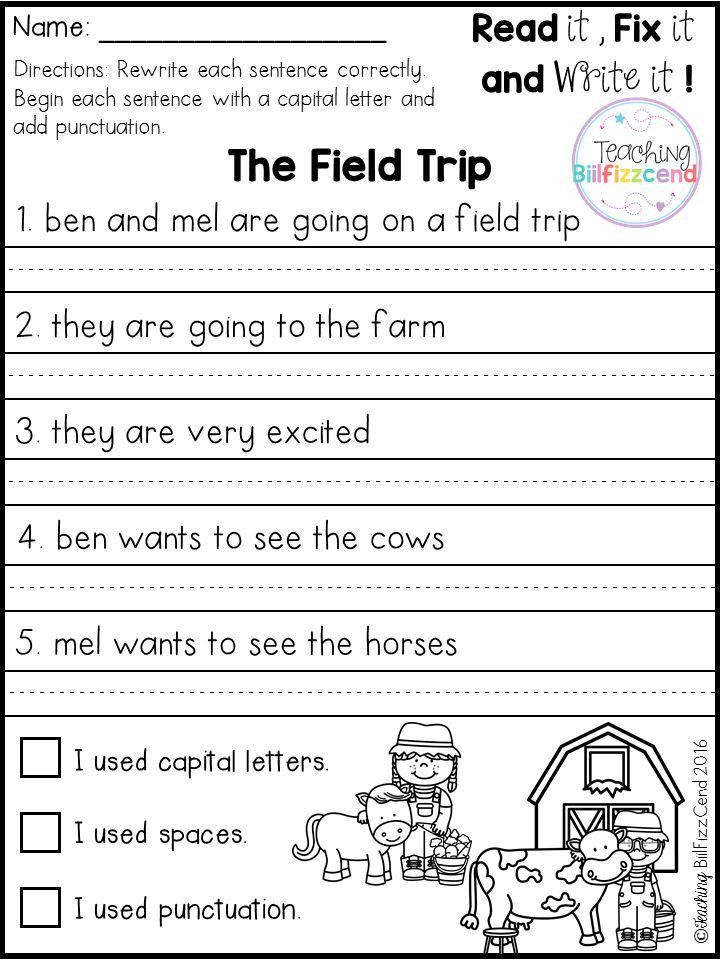 First Grade Sentence Writing Worksheets Free Fix It Up Sentences