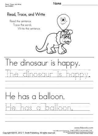 First Grade Sentence Writing Worksheets Read Trace and Write Worksheets 1 5