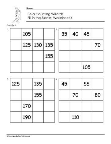 First Grade Skip Counting Worksheets Count by 5 Worksheet 4 Worksheets