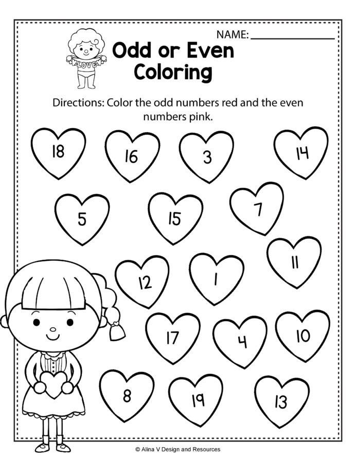 First Grade Skip Counting Worksheets Valentine Odd even Coloring Math Worksheets and Skip