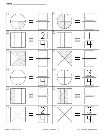 Fraction Worksheets First Grade 1st Grade Fractions Fraction Activities Galore sorting