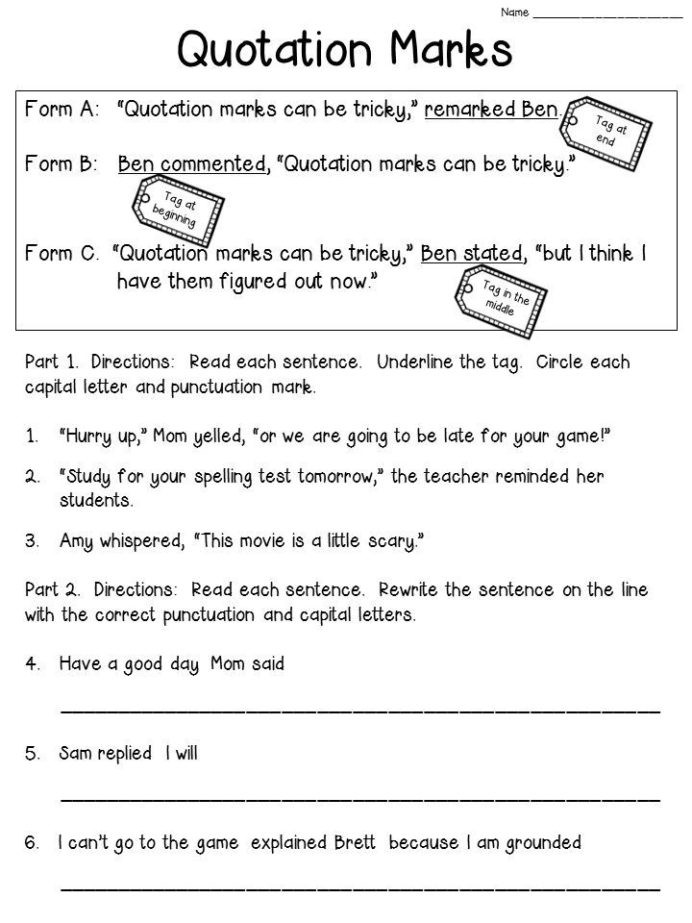 Fraction Worksheets First Grade Quotation Marks Anchor Chart with Freebie Writing Prompts