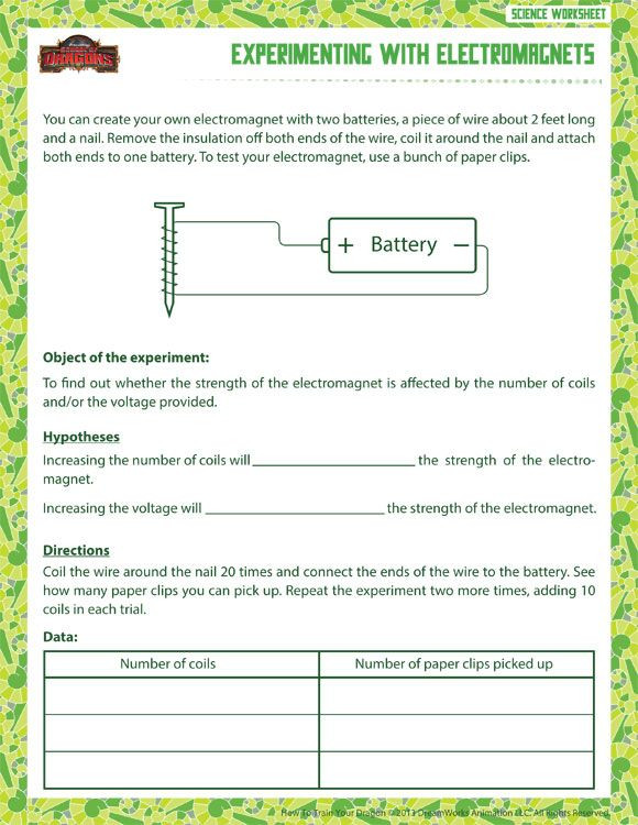 Free 6th Grade Science Worksheets Experimenting with Electromagnets Printable Science
