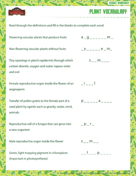 Free 6th Grade Science Worksheets Plant Vocabulary View – 6th Grade Life Science Worksheet – sod