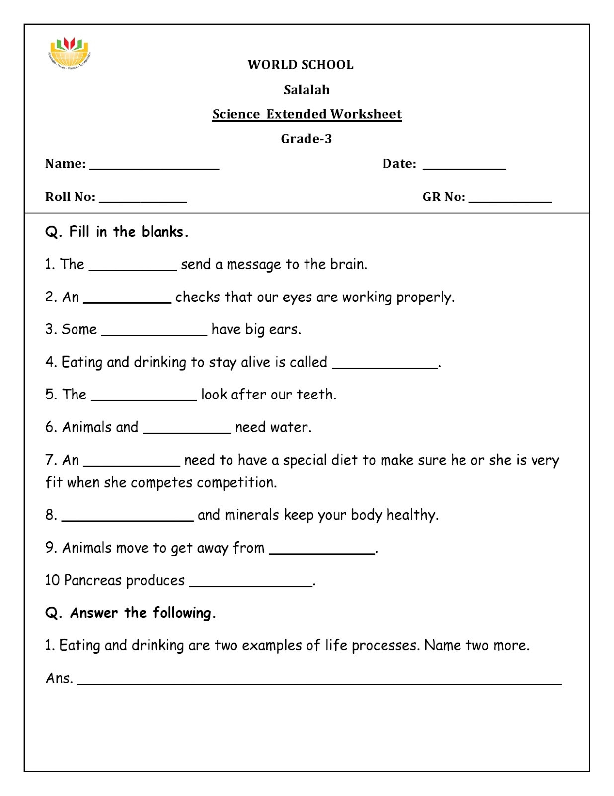 Free 6th Grade Science Worksheets Science Worksheets for Grade 2 to Educations Science