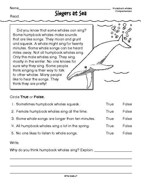 Free 7th Grade Reading Worksheets Reading Prehension Worksheet Nonfiction Whales