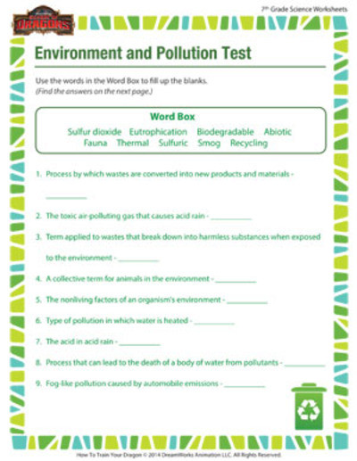 Free 7th Grade Science Worksheets Environment and Pollution 7th Grade Science Worksheet