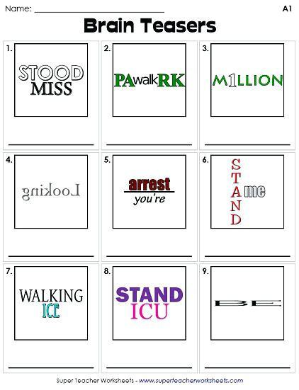 Free Printable Rebus Puzzles Brain Puzzles Printable Free Printable Puzzle Worksheets
