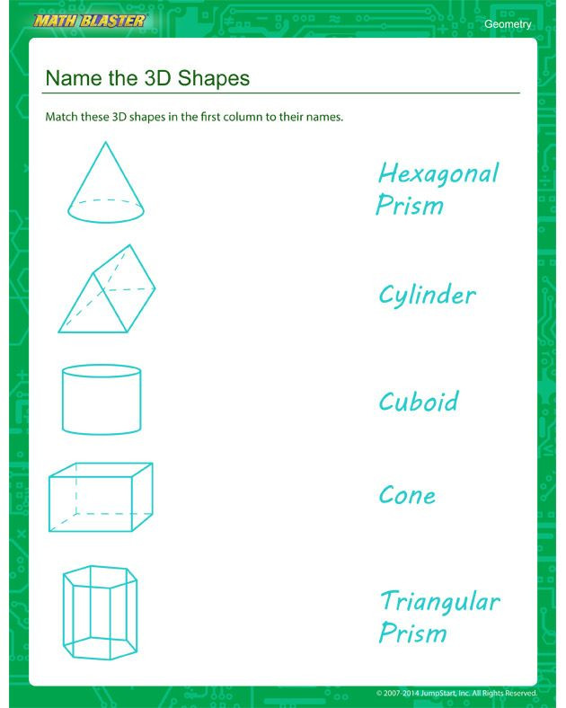 Geometric Shapes Worksheets 2nd Grade Name the 3d Shapes Second Grade Geometry Worksheet
