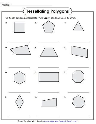 Geometric Shapes Worksheets 2nd Grade Tessellation Polygons Worksheet
