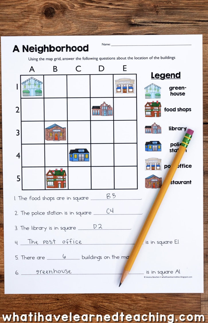 Grid Map Worksheets Grade 2 Map Skills & Location social Stu S Unit