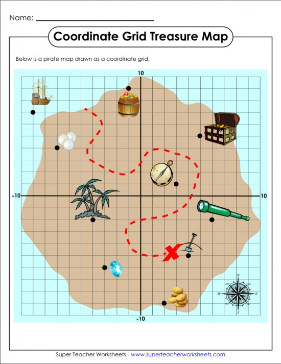 Grid Map Worksheets Grade 2 Treasure Map Coordinate Grid