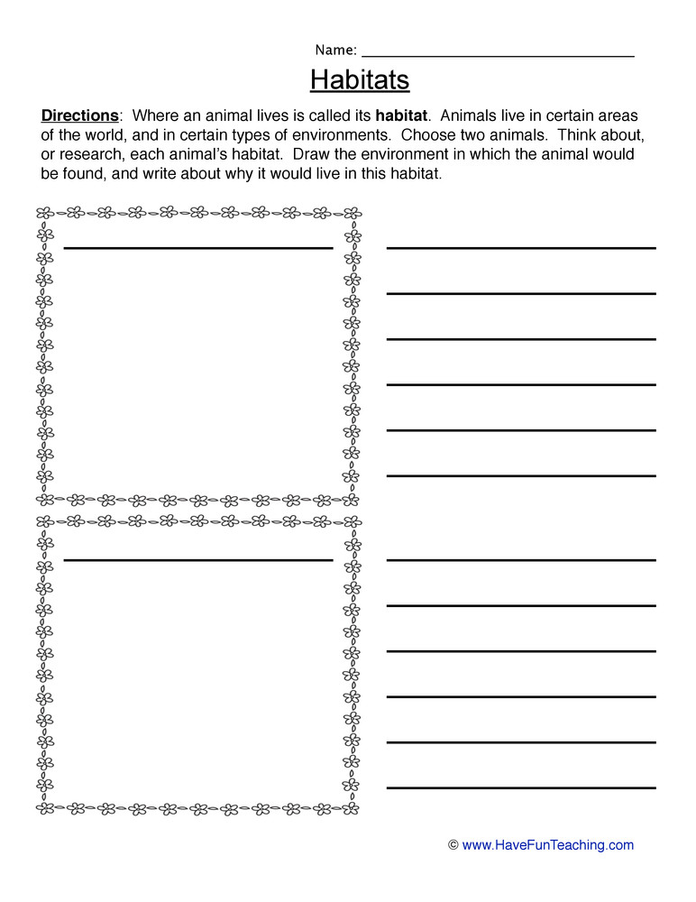 Habitat Worksheets for 1st Grade Animal Habitats Worksheet