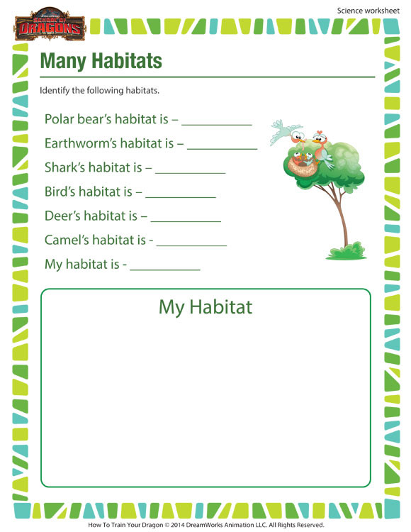 Habitat Worksheets for 1st Grade Many Habitats Activity 1st Grade Science Worksheet sod
