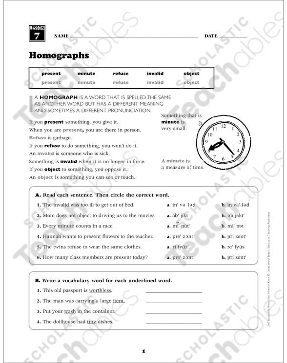 Homograph Worksheet 5th Grade Homographs Grade 5 Vocabulary