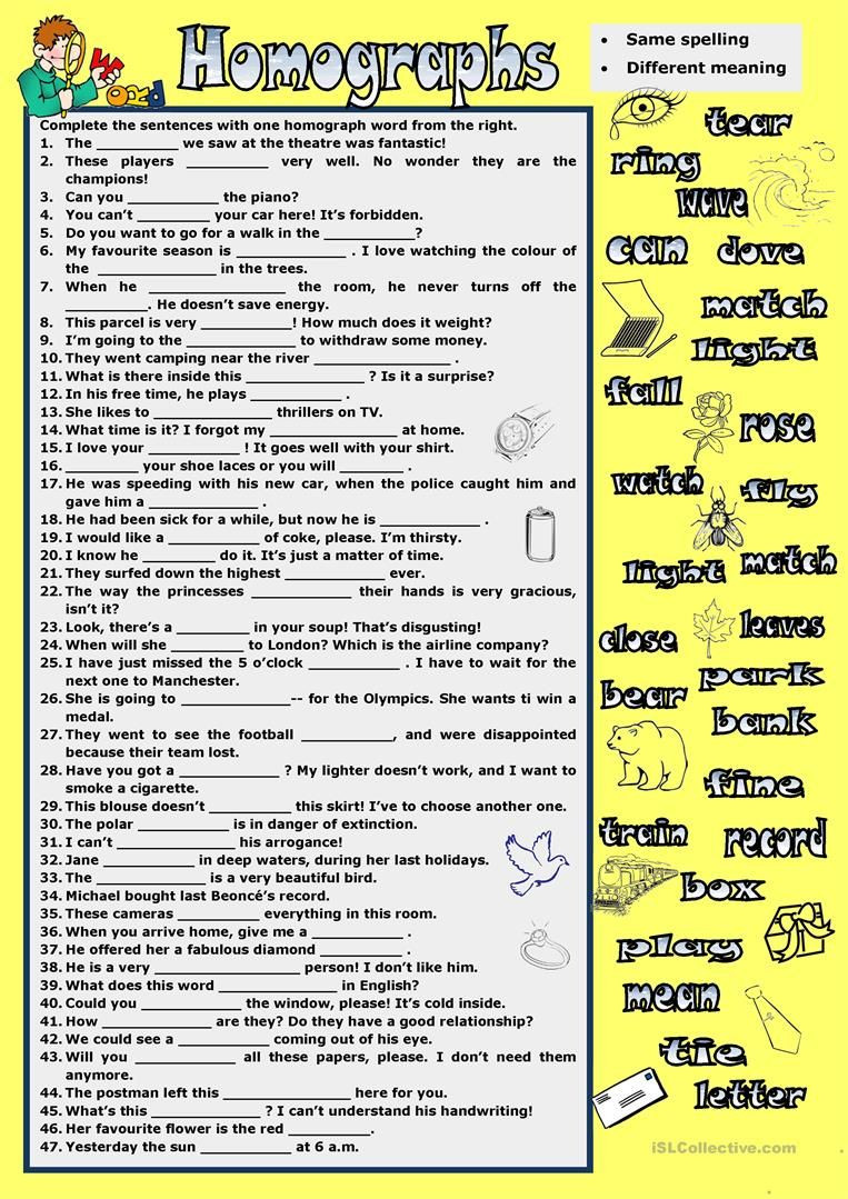 Homograph Worksheet 5th Grade Homographs